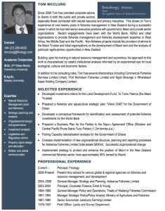 Tom Mcclurg - Bio | Finology | Business, Economic Consulting & Strategic Analysis